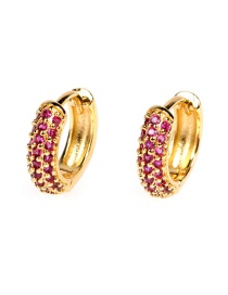 Fashion Purple Diamond C-shaped Gold-plated Copper Earrings With Diamonds
