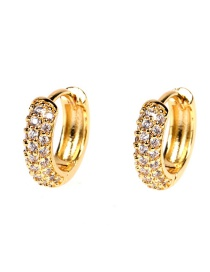 Fashion White Diamond C-shaped Gold-plated Copper Earrings With Diamonds