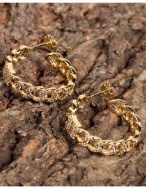 Fashion Golden Geometric C-shaped Cuban Chain Earrings With Diamonds