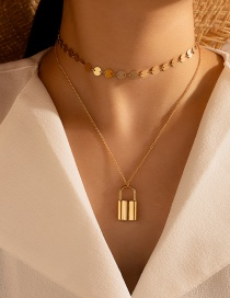 Fashion Golden Disc Lock-shaped Long Alloy Multilayer Necklace