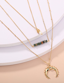 Fashion Golden Hand-woven Natural Freshwater Pearl Horn Multilayer Necklace