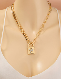 Fashion Golden Lock Shaped Diamond Butterfly Check Chain Necklace
