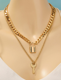 Fashion Golden Key Lock Shape Pendant Thick Chain Multilayer Necklace