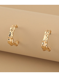 Fashion Golden Alloy Concave And Convex C-shaped Earrings