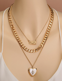 Fashion Golden Letter Love Natural Shell Multilayer Necklace