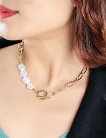 Fashion Golden Ot Buckle Thick Chain Pearl Stitching Necklace