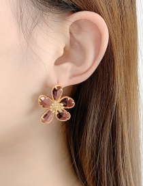 Fashion Cherry Blossom Powder Flower Micro-inlaid Zircon Gold-plated Earrings