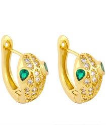 Fashion Golden Snake-shaped Gold-plated Copper Earrings With Zircons