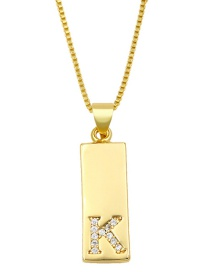 Fashion K Gold Geometric Rectangle Letter Necklace With Diamonds