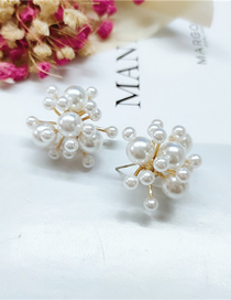 Fashion White Pearl Beaded Firework Alloy Long Earrings