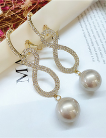 Fashion Yellow Diamond And Pearl Cross Hollow Geometric Earrings