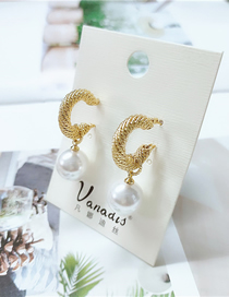 Fashion White Threaded Pearl Alloy Geometric Tassel Earrings
