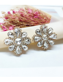 Fashion White Diamond Flower Alloy Earrings