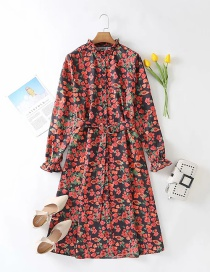 Fashion Color Long-sleeved Tie-print High-neck Bottoming Dress