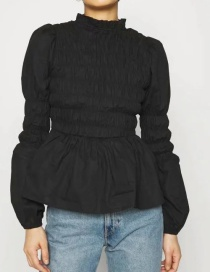 Fashion Black Long-sleeved Waist Lotus Root Sleeve Splicing Top