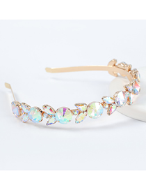 Fashion Ab Color Alloy Inlaid Glass Diamond Flower Geometric Headband