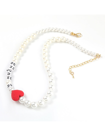 Fashion Red Heart Necklace Imitation Pearl Resin Letter Love Necklace