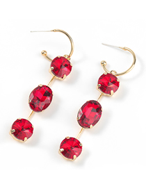 Fashion Red Alloy Oval Earrings With Glass Diamonds