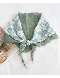 Fashion Big Flower Solid Color Fight Green Big Flower Print Triangle Stitching Cotton And Linen Diamond Scarf