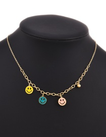 Fashion Gold Stainless Steel Smiley Face Pendant Necklace