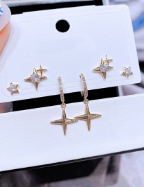 Fashion Gold Color Copper Inlaid Zirconium Star Earring Set