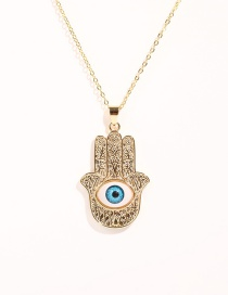 Fashion Blue Copper Plated Real Gold Palm Eye Necklace