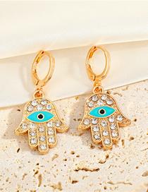 Fashion Earrings Alloy Diamond-studded Palm Eyes And Earrings