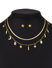 Fashion Gold Color Titanium Steel Star And Moon Double Necklace And Earrings Set