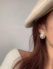 Fashion Ear Clip Weaving Oval Large Pearl Ear Clips Without Pierced Ears