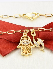 Fashion Gilded Diamond Palm Gold-plated Pisces Pendant Necklace