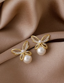 Fashion Bow Micro-set Zircon Bow Pearl Earrings