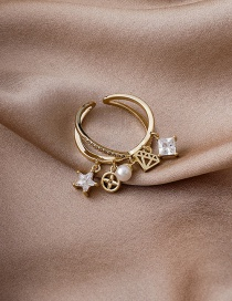 Fashion Golden Micro-set Zircon Cross Star Pendant Open Ring