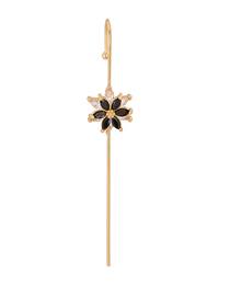Fashion Golden Black Flower Pierced And Diamond-studded Butterfly Geometry Surrounds The Auricle With Real Gold Plated Ear Bone Clips
