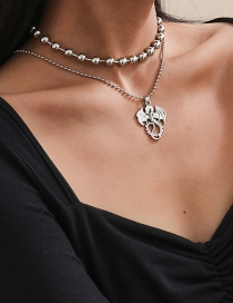 Fashion True Color Hollow Alloy Bead Chain Dragon-shaped Pendant Multilayer Necklace