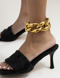 Fashion Golden Hollow Tassel Geometric Thick Chain Anklet