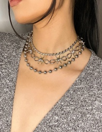 Fashion True Color Chain With Round Beads And Gold Multi-layer Necklace