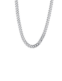 Fashion Steel Color 3mm50cm Stainless Steel Milled Six-sided Cuban Chain Thick Chain Necklace