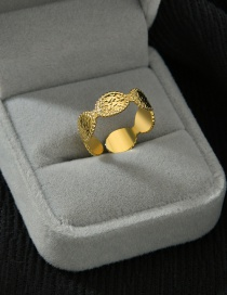 Fashion Golden 14k Gold Oval Texture Stainless Steel Open Ring