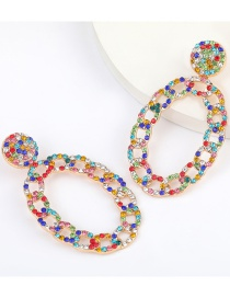 Fashion Color Chain Type Oval Alloy Diamond Earrings
