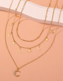 Fashion Gold Color Diamond Moon Alloy Multilayer Necklace
