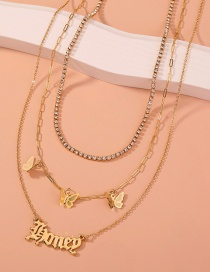 Fashion Gold Color Butterfly Rhinestone Grab Chain Letter Multilayer Necklace