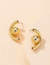 Fashion Gold Color Geometric Round Alloy Earrings