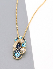Fashion Flip Flop Diamond-studded Slippers Drip Oil Alloy Necklace