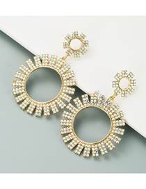 Fashion Ab Color Hollow Big Circle Alloy Inlaid Ab Color Diamond Earrings