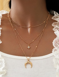 Fashion Golden Multi-layered Eight-pointed Star Moon And Diamond Pendant Necklace
