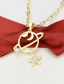 Fashion Gilded Flat Planet Gold-plated Zircon Star Pendant Necklace