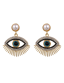 Fashion White Alloy Pearl Diamond Eye Stud Earrings