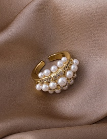 Fashion Gold Color Gold-plated Copper Geometric Ring With Pearl And Zircon