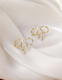 Fashion Bowknot Hollow Bow Pearl And Zircon Earrings