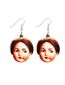 Fashion Retro Doll Distressed Doll Head Acrylic Earrings
